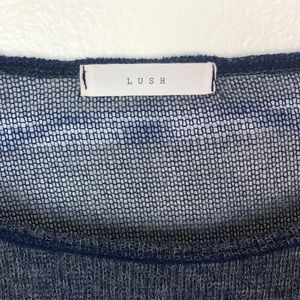 Lush Tops - LUSH l Knit Sheer Striped Crop Top